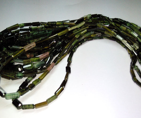 Green Tourmaline Faceted Tube