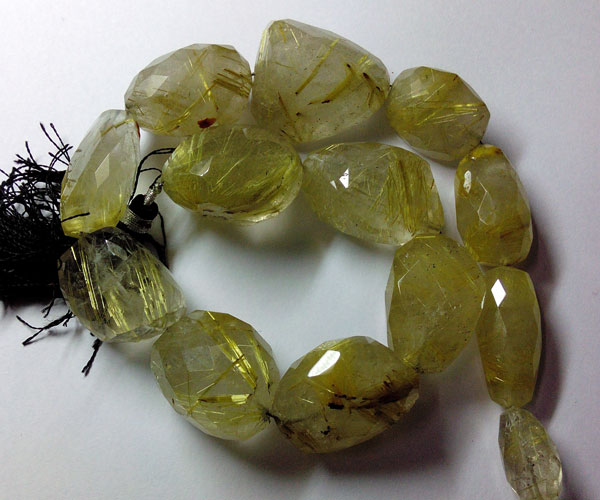 Golden Rutilated Faceted Tumble