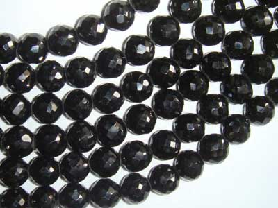 Black Spinal Faceted Round 10-11mm