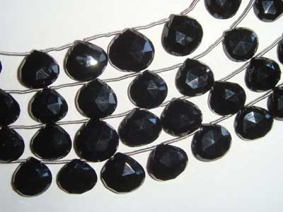 Black Onyx Faceted Hearts