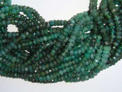 Shaded Emerald Machine Cut Rondell 3mm